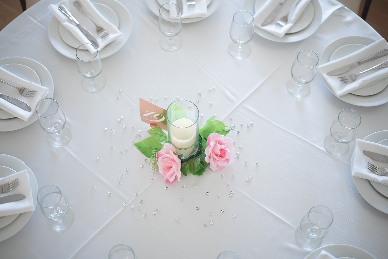 table decorated at dallas wedding venue