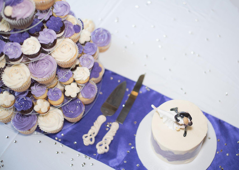 wedding cake with purple cakes