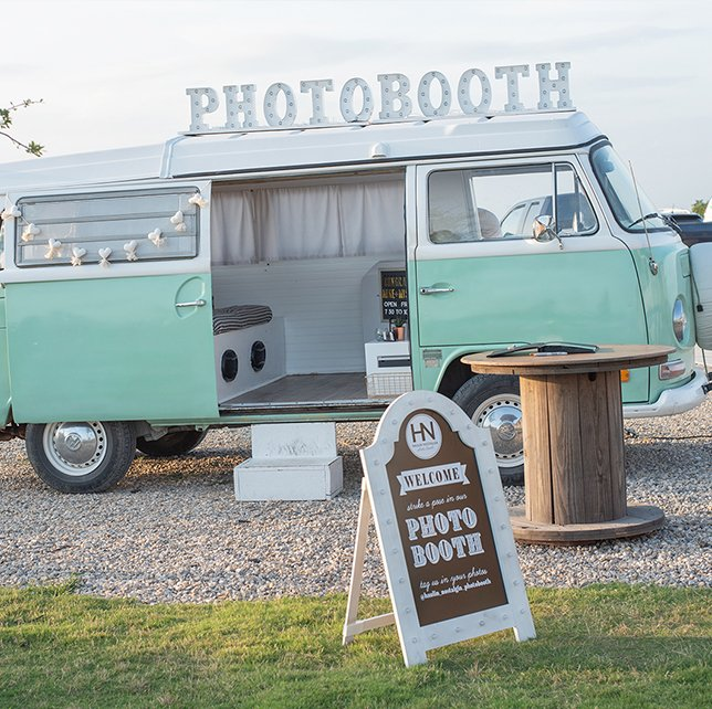 green vw  photo booth bus